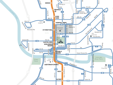 A map of Austin shows a north-south orange-colored line running through downtown